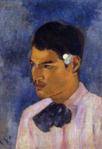 Paul Gauguin Young Man with a Flower - Hand Painted Oil Painting
