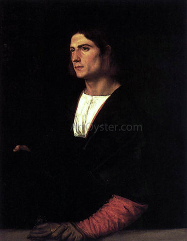 Titian Young Man with Cap and Gloves - Hand Painted Oil Painting