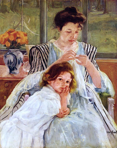 Mary Cassatt Young Mother Sewing - Hand Painted Oil Painting