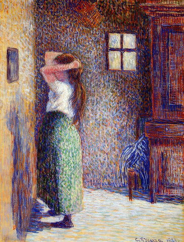 Camille Pissarro Young Peasant at Her Toilette - Hand Painted Oil Painting