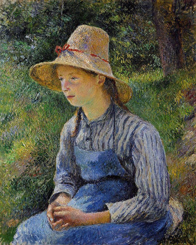 Camille Pissarro Young Peasant Girl Wearing a Hat - Hand Painted Oil Painting