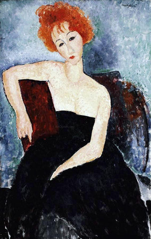Amedeo Modigliani Young Redhead in an Evening Dress - Hand Painted Oil Painting