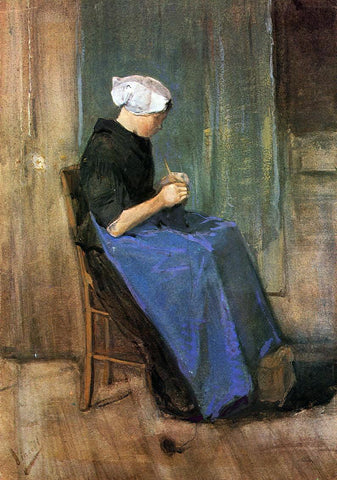 Vincent Van Gogh Young Scheveningen Woman Knitting - Hand Painted Oil Painting