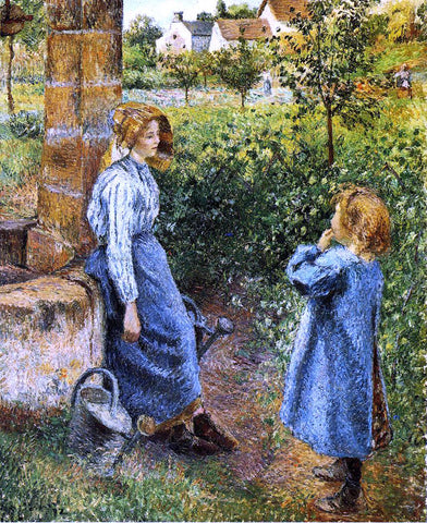 Camille Pissarro A Young Woman and Child at the Well - Hand Painted Oil Painting