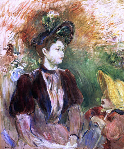 Berthe Morisot Young Woman and Child, Avenue du Bois - Hand Painted Oil Painting