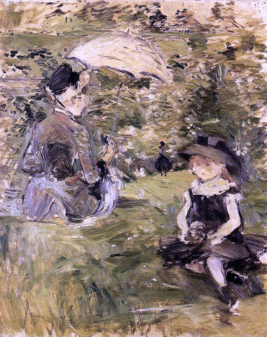 Berthe Morisot Young Woman and Child on an Isle - Hand Painted Oil Painting