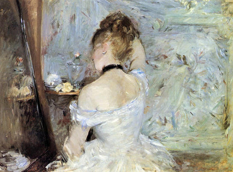 Berthe Morisot Young Woman at the Mirror (also known as Young Girl Getting Dressed, Seen from the Back) - Hand Painted Oil Painting