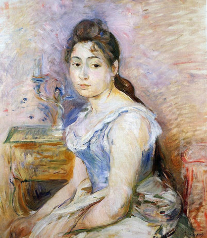 Berthe Morisot Young Woman in a Blue Blouse - Hand Painted Oil Painting