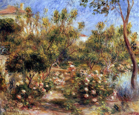 Pierre Auguste Renoir Young Woman in a Garden - Cagnes - Hand Painted Oil Painting