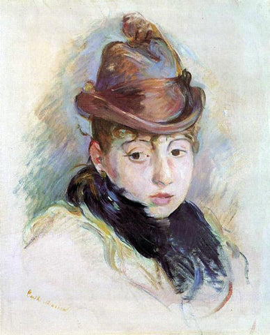 Berthe Morisot Young Woman in a Hat (Henriette Patte) - Hand Painted Oil Painting