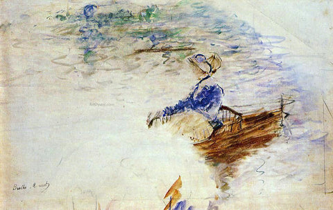 Berthe Morisot Young Woman in a Rowboat, Eventail - Hand Painted Oil Painting