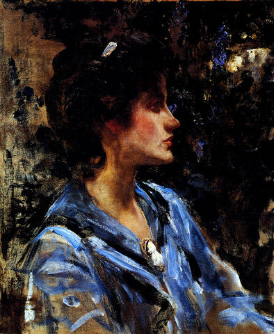 Sir James Jebusa Shannon Young Woman In Blue -- Miss H. Strom - Hand Painted Oil Painting
