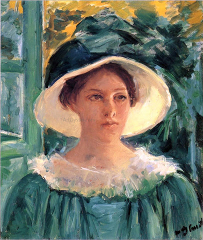 Mary Cassatt Young Woman in Green, Outdoors in the Sun - Hand Painted Oil Painting