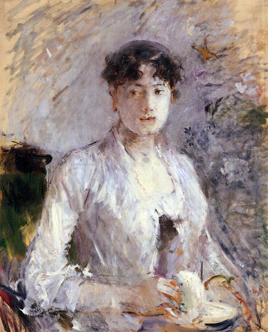 Berthe Morisot Young Woman in Mauve - Hand Painted Oil Painting