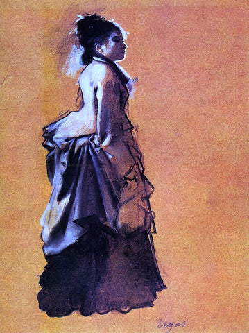 Edgar Degas Young Woman in Street Dress - Hand Painted Oil Painting