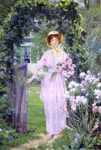 Francis Coates Jones Young Woman in the Garden - Hand Painted Oil Painting
