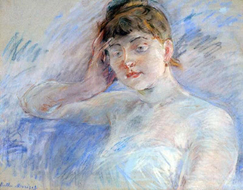 Berthe Morisot Young Woman in White (also known as Isabelle Lemmonier) - Hand Painted Oil Painting
