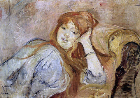 Berthe Morisot Young Woman Leaning on Her Elbow - Hand Painted Oil Painting