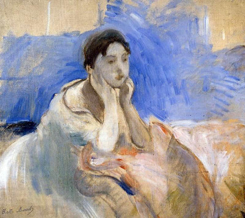 Berthe Morisot Young Woman Leaning on Her Elbows - Hand Painted Oil Painting