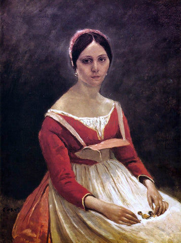 Jean-Baptiste-Camille Corot Young Woman (Madame Legois) - Hand Painted Oil Painting