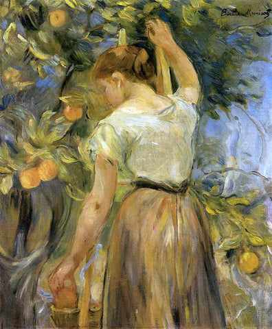 Berthe Morisot Young Woman Picking Oranges - Hand Painted Oil Painting