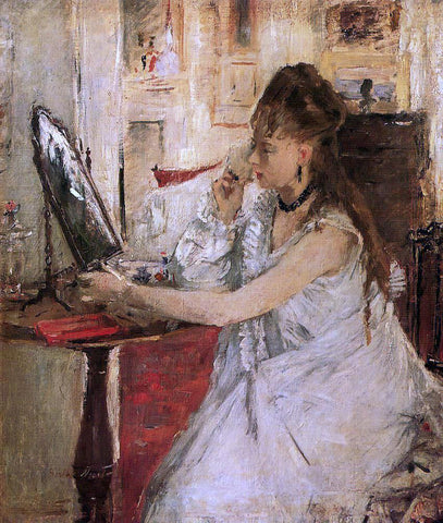 Berthe Morisot Young Woman Powdering Her Face - Hand Painted Oil Painting