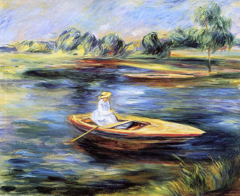 Pierre Auguste Renoir Young Woman Seated in a Rowboat - Hand Painted Oil Painting