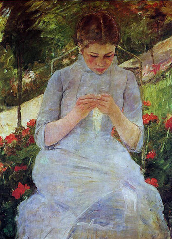 Mary Cassatt Young Woman Sewing in a Garden - Hand Painted Oil Painting