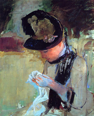 Mary Cassatt Young Woman Sewing in the Garden - Hand Painted Oil Painting