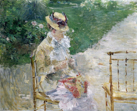Berthe Morisot Young Woman Sewing in the Garden - Hand Painted Oil Painting