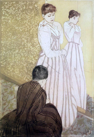Mary Cassatt Young Woman Trying on a Dress - Hand Painted Oil Painting