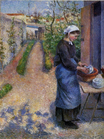 Camille Pissarro Young Woman Washing Plates - Hand Painted Oil Painting