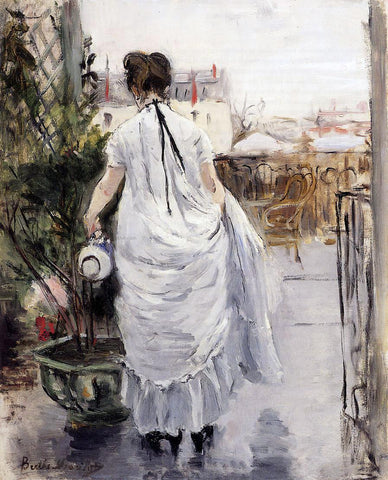 Berthe Morisot Young Woman Watering a Shrub - Hand Painted Oil Painting