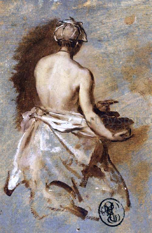 Nicolas Vleughels Young Woman with a Nude Back Presenting a Bowl - Hand Painted Oil Painting