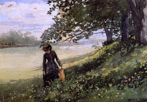 Winslow Homer Young Woman with a Parasol - Hand Painted Oil Painting