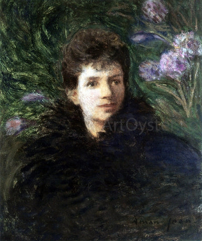 Edmond Francois Aman-Jean Young Woman with Violet Flowers - Hand Painted Oil Painting