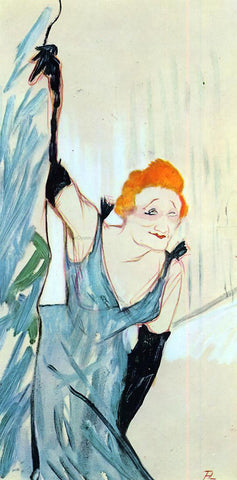Henri De Toulouse-Lautrec Yvette Guilbert Taking a Curtain Call - Hand Painted Oil Painting