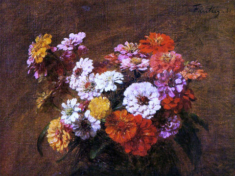 Henri Fantin-Latour Zinnias in a Vase - Hand Painted Oil Painting