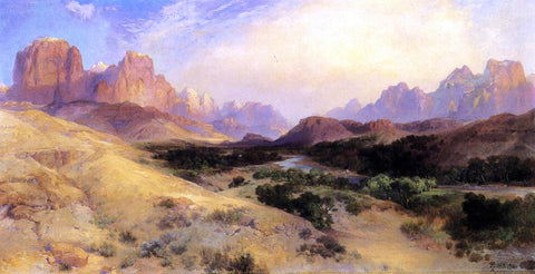 Thomas Moran Zion Valley, South Utah - Hand Painted Oil Painting