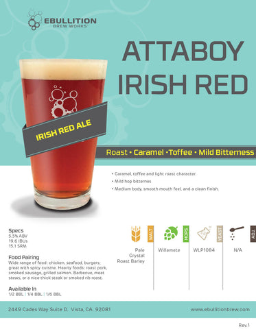 Attaboy Irish Red Ale Crowler