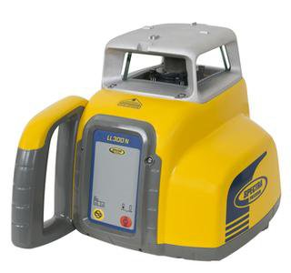 Yellow and grey Spectra Precision LL300S Laser Level used for levelling