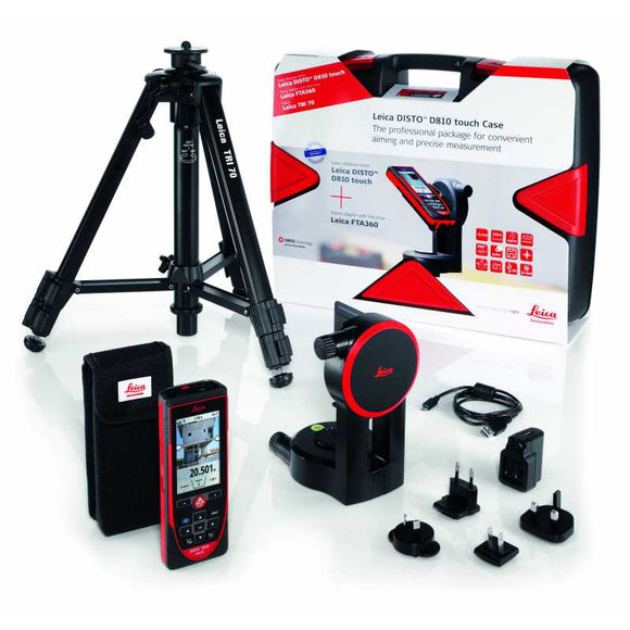 Red and black DISTO D810 Touch Package with the FTA360 tripod adapter and TRI 70 tripod