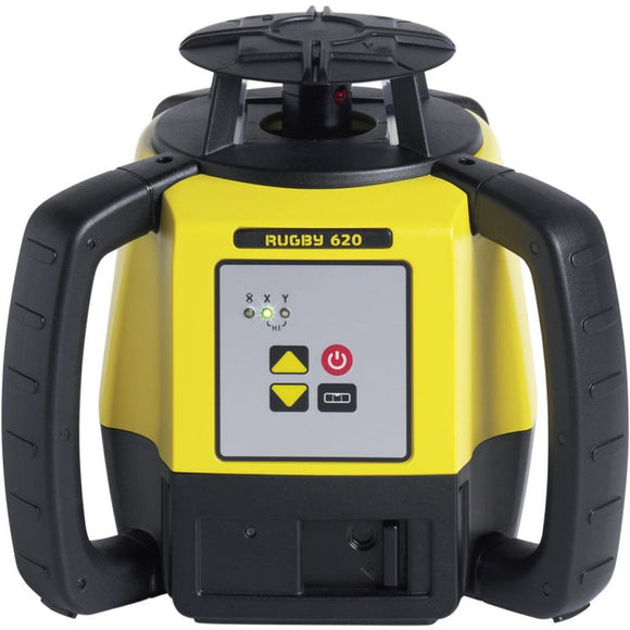 Black and Yellow Leica Rugby 620 rotating laser for formwork and concrete applications