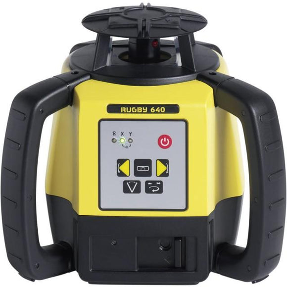 Black and Yellow Leica Rugby 640 rotating laser for construction and interior applications