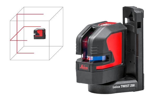 Red and black Leica Lino L2 projecting red laser