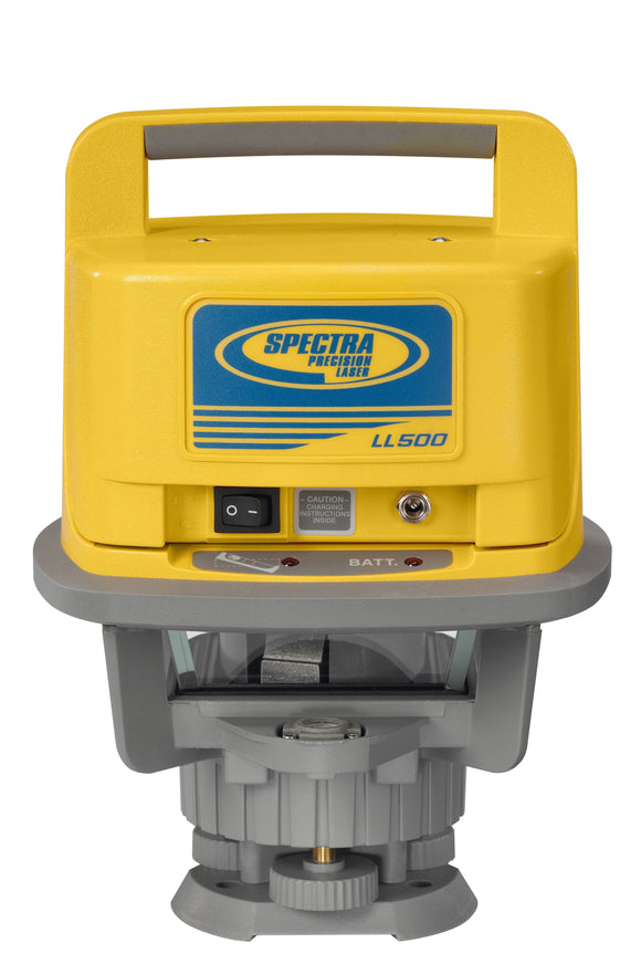 Grey and Yellow Spectra Precision LL500 laser level used for long range measurments