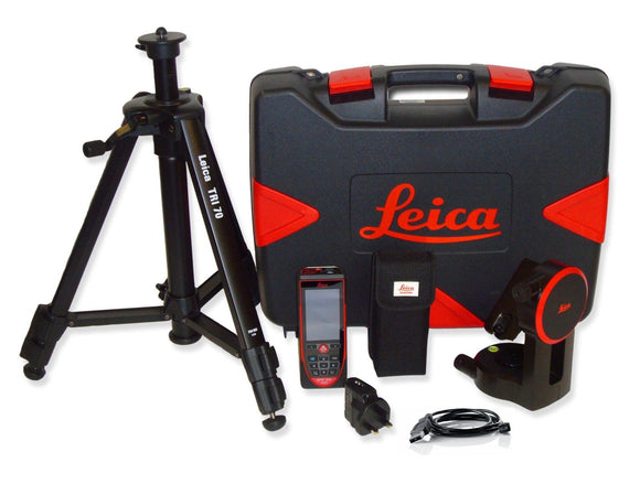 Black and red Leica DISTO D510 Package with tripod adapter and the Leica TRI-70 tripod