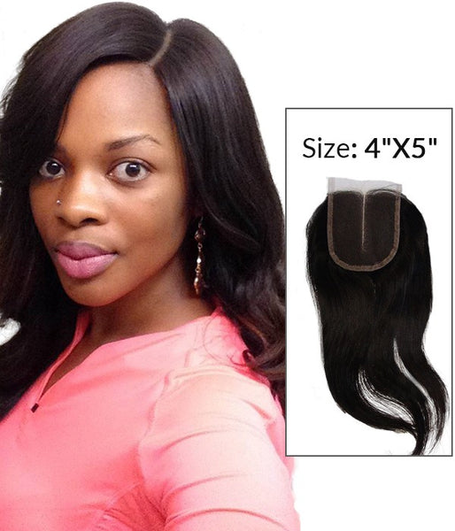 "4""x5"" Natural Straight Brazilian Remy Human Hair Lace Hair Topper"