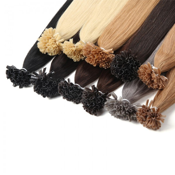 1g/s Color #1 #1B #2 #4 #12 Straight Nail/U Tip Virgin Hair Extensions 100g