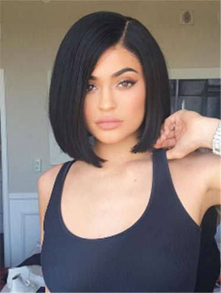 Bobs Remy Human Hair Black Capless Kylie Jenner Wigs